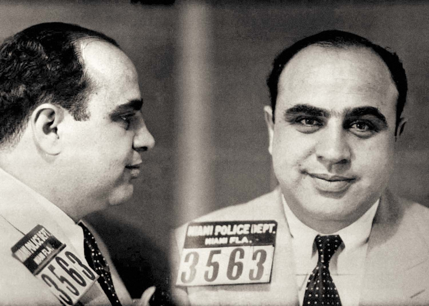 "Al Capone mugshot, 1930. An American gangster and businessman who became notorious during the prohibition as boss of the Chicago Outfit. Also known as ""Scarface""."