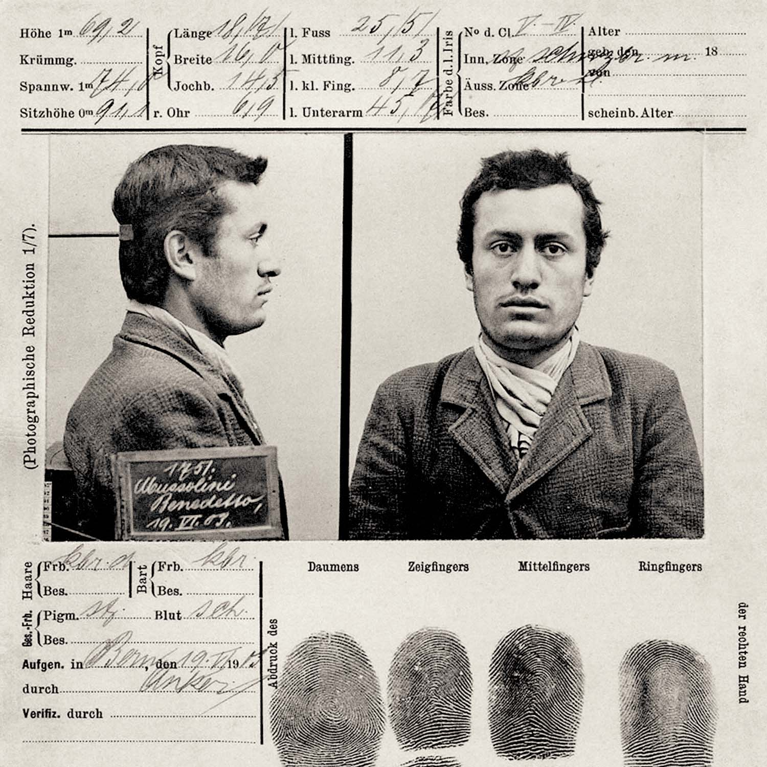 Benito Mussolini mugshot in 1903. In a preview of what was to come, the future Fascist leader of Italy was arrested in Switzerland for his advocacy for violent general strike.