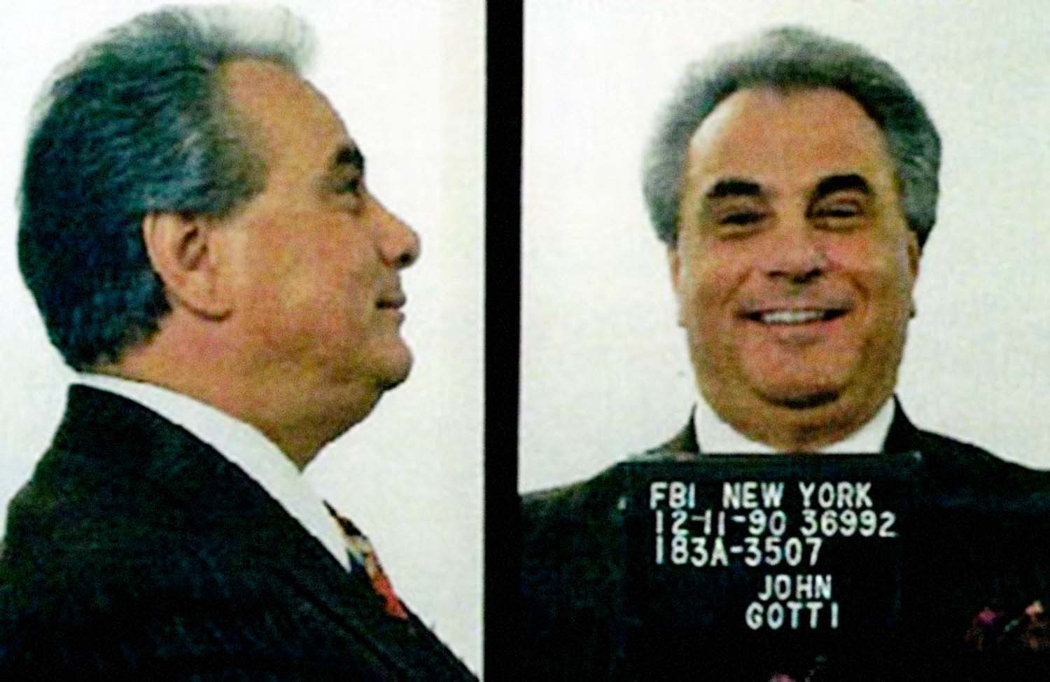 "John Gotti, aka ""The Dapper Don"" mugshot, 1990. The Italian-American gangster was the boss of the Gambino crime family in New York City."