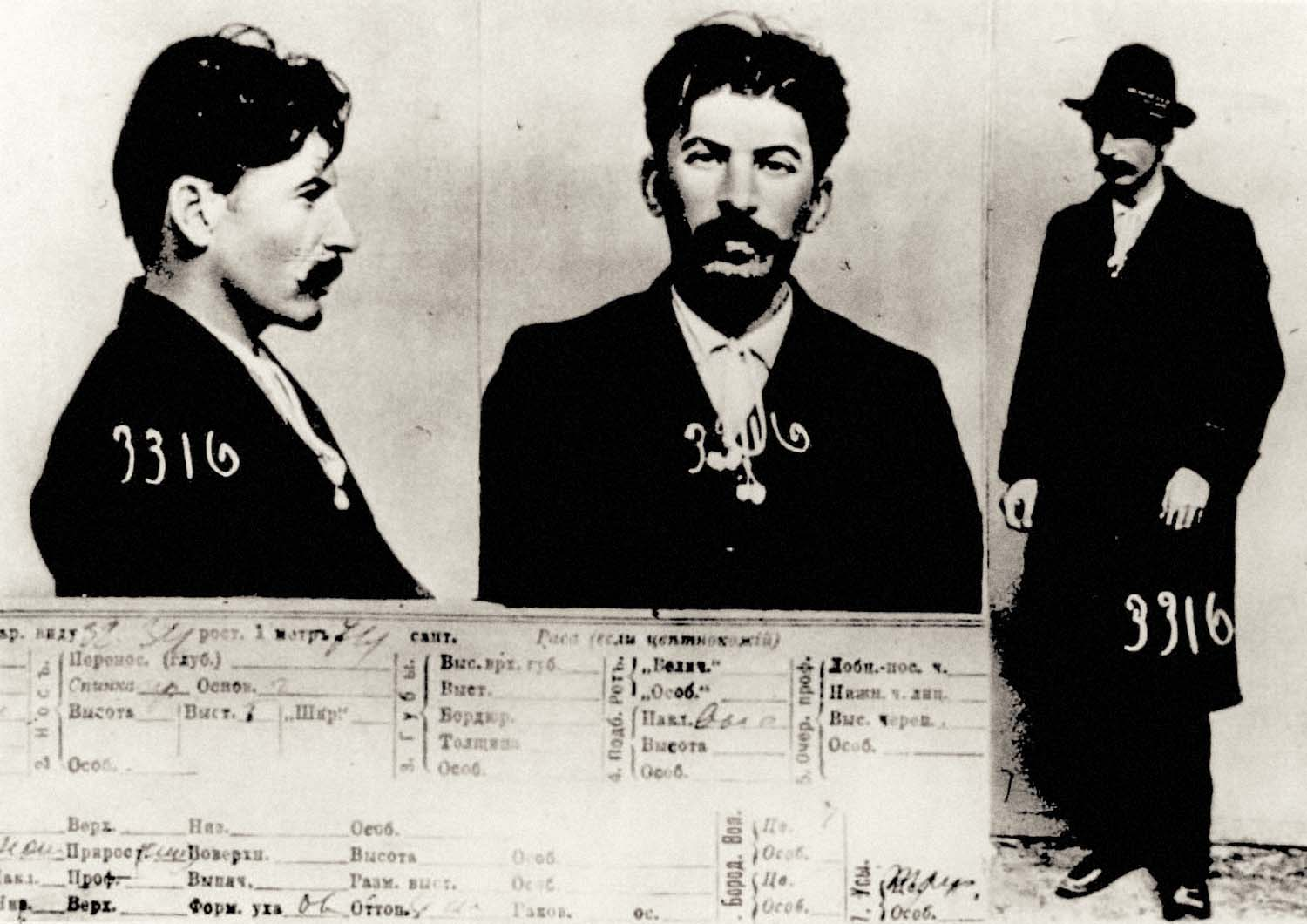 Joseph Stalin mugshot taken by the Tsarist Secret Police in 1911. The future leader of Russia was arrested for terrorism, robbery and revolutionary agitation at Caucasus.