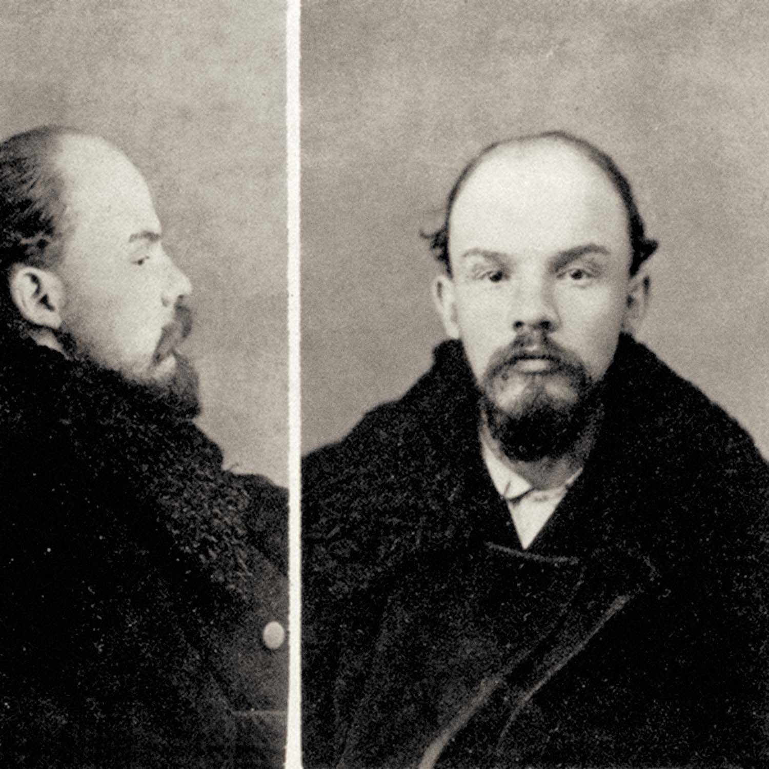 Vladimir Lenin mugshot from 1895, the world's first communist head of state. Lenin was arrested in 1895 and exiled to Siberia.