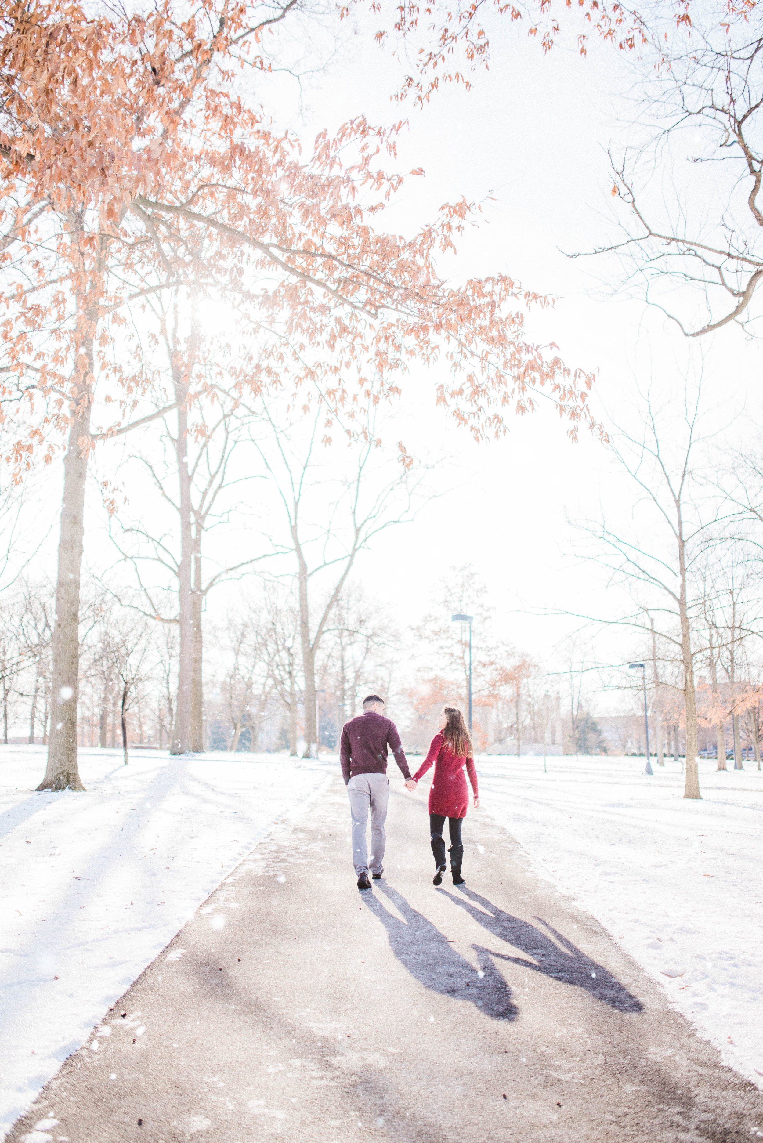 Fine Art Indianapolis Destination Wedding Photographer | Winter Engagement at Ball State University in Muncie, IN