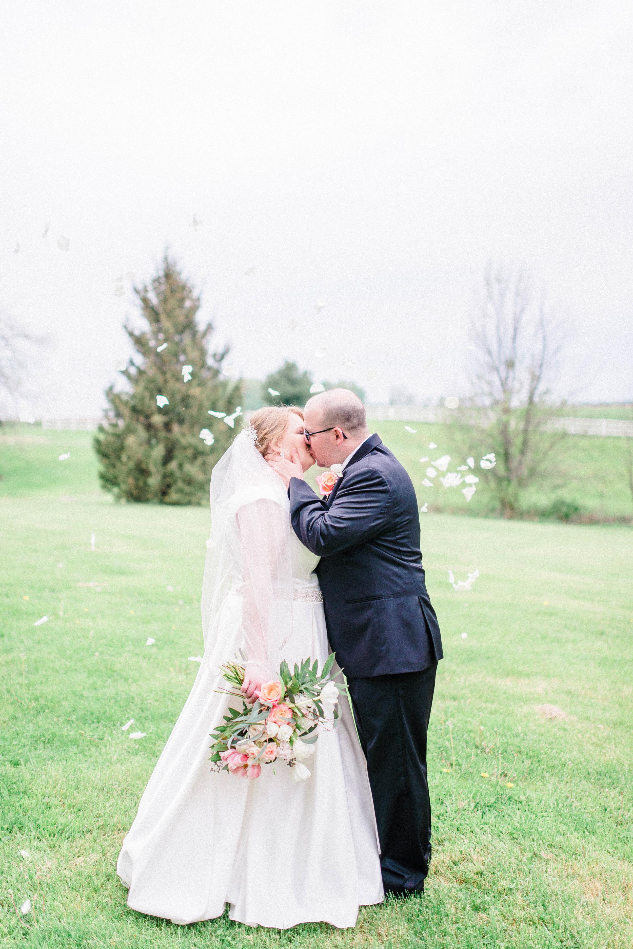 Romantic, Simplistic & Organic Wedding on an Alpaca Farm in Indiana | Color Scheme of Dusty Blue, Blush Pink and Soft White Tones | Indianapolis Destination Wedding & Elopement Photographer | Katerina Marie Photography - www.katmariepad.com