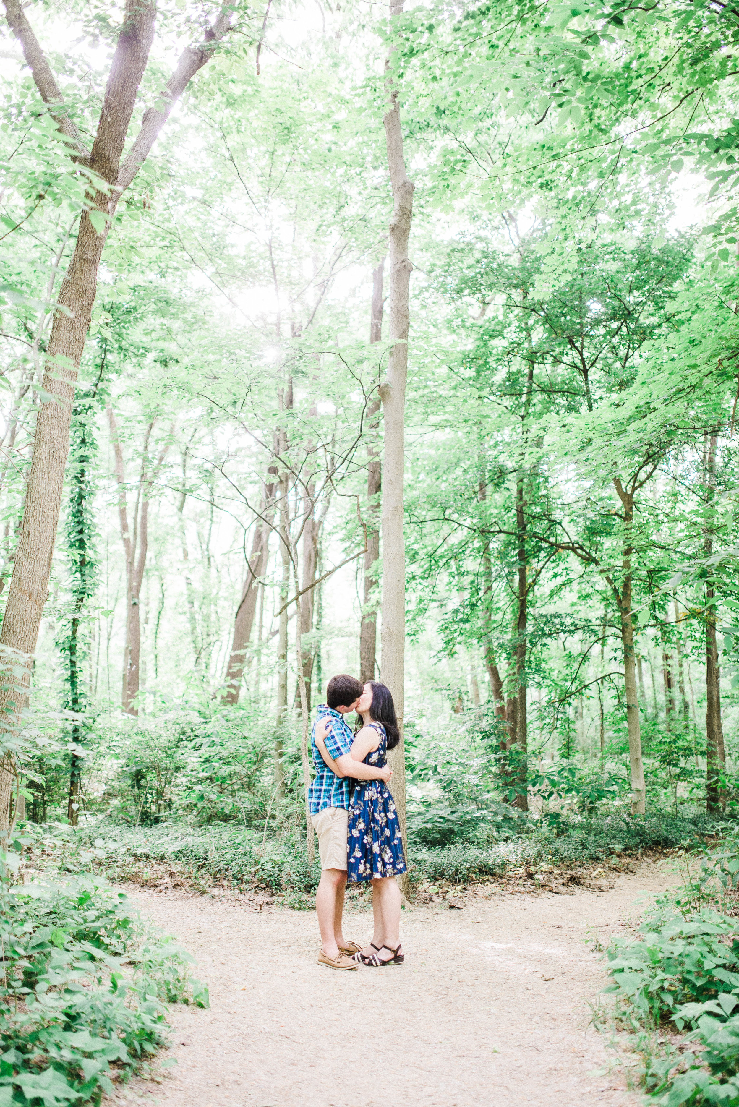 Romantic Natural Light Engagement Photography in the Woods | Elopement & Destination Wedding Photographers based in Indianapolis, IN | Katerina Marie Photography - www.katmariepad.com