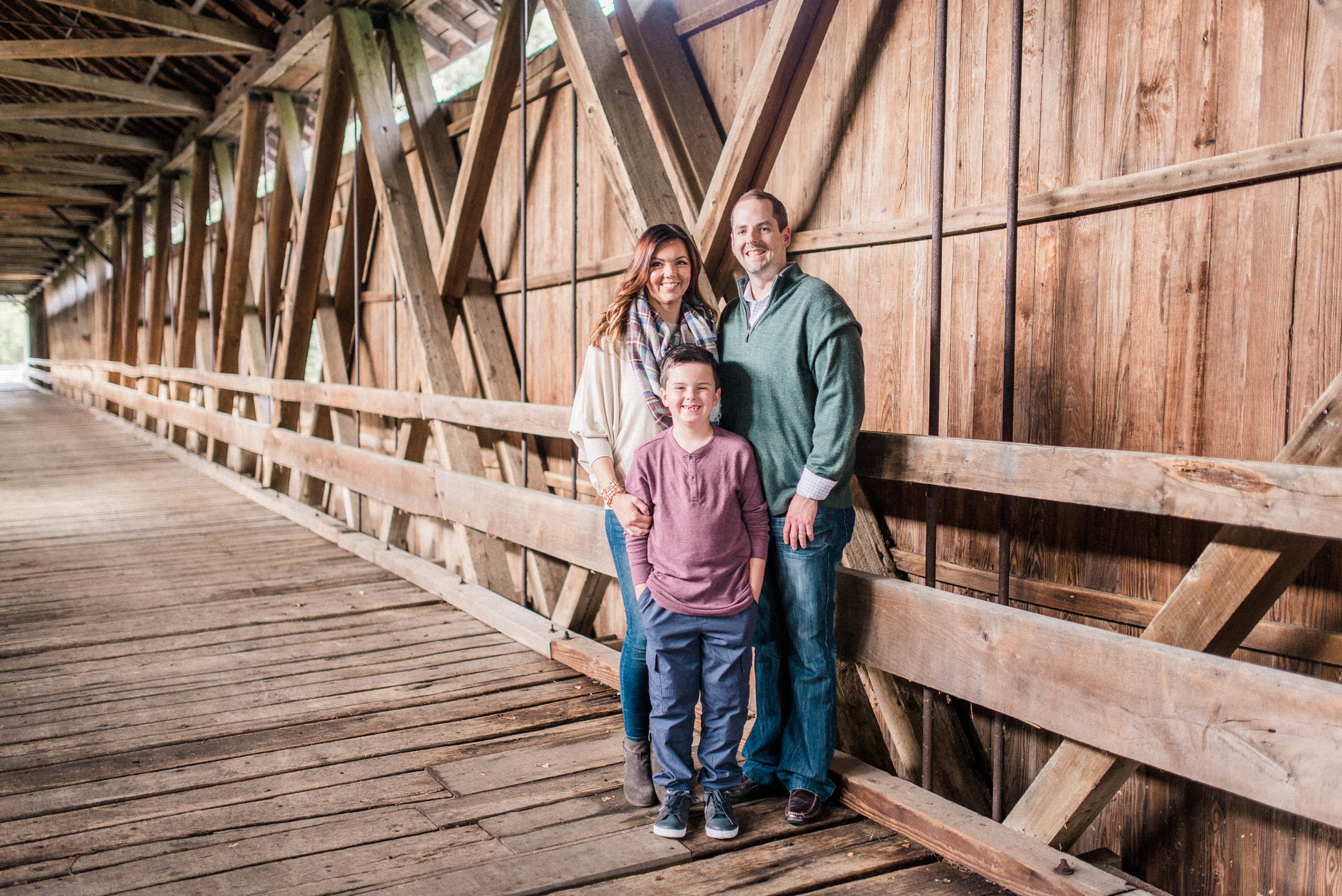 The Fenneman Family | Wooded Photography Session at a Covered Bridge | Noblesville Indiana Family Photographers