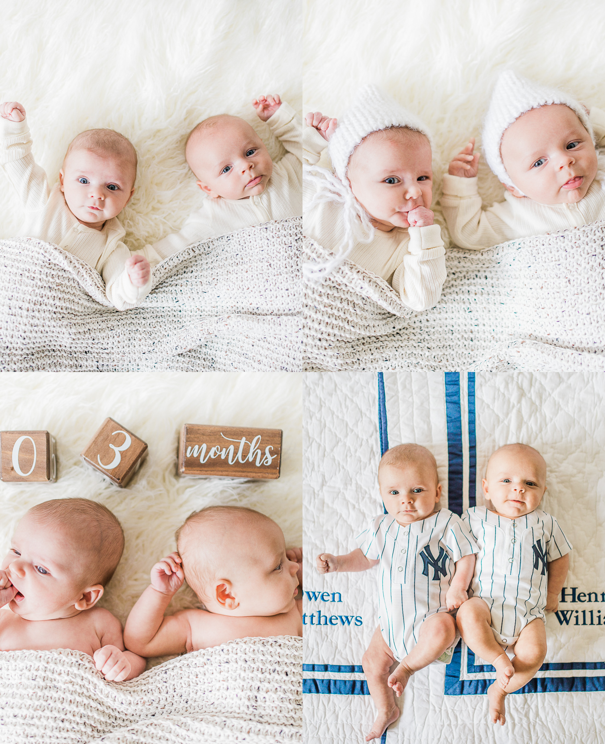 Henry + Owen | Cozy 3 Month Baby Milestone Photography Session | Noblesville, IN