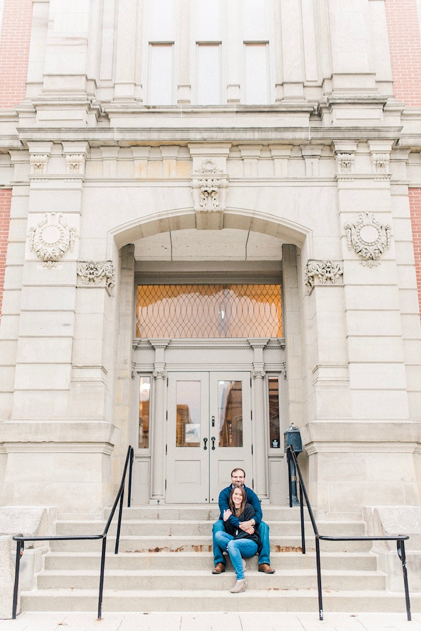 Leigh + Daniel | Cozy City Engagement Photography in Historic Downtown Noblesville, IN | Indianapolis Destination Wedding Photographers