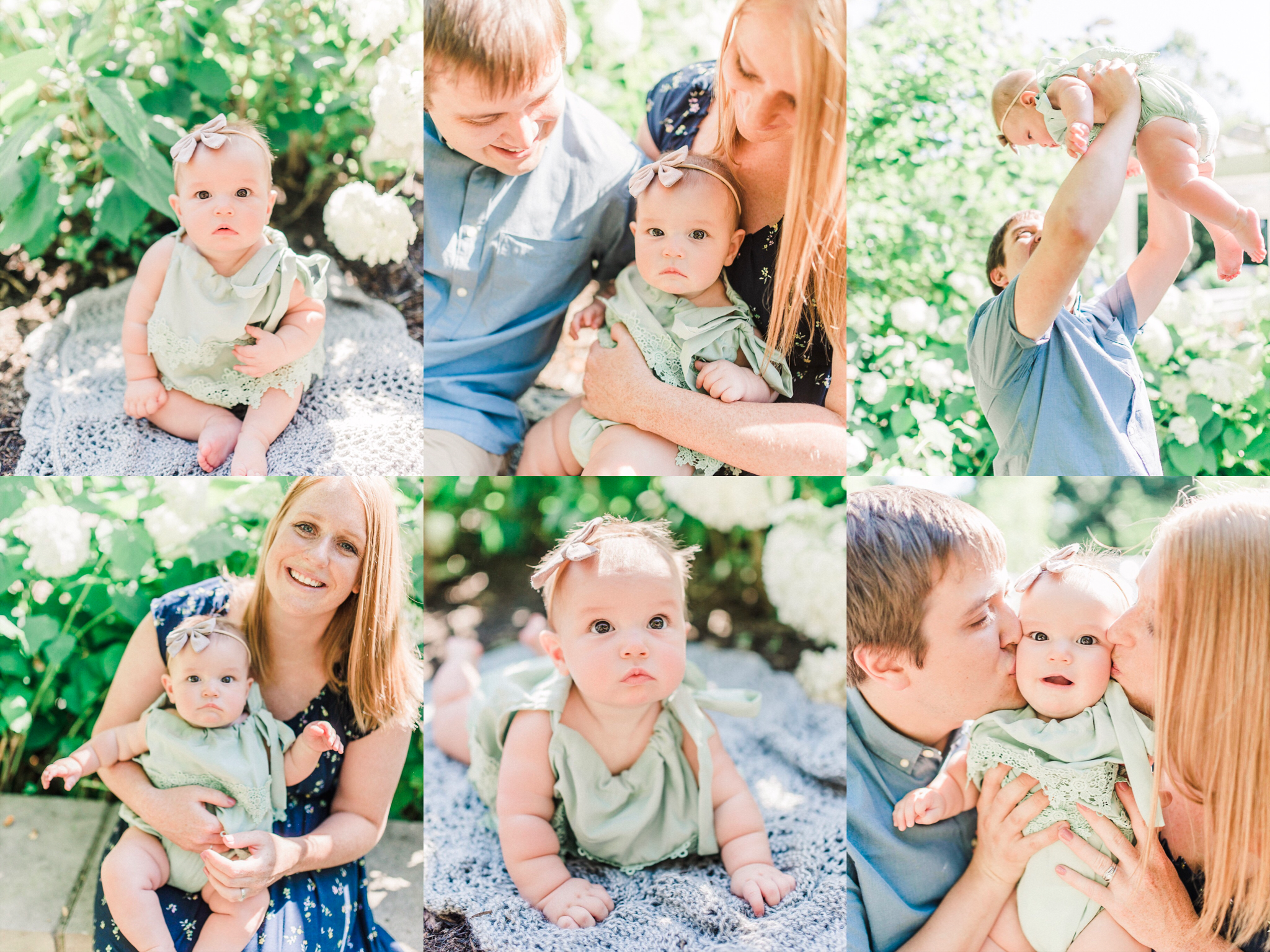 The Moon Family | Bright Summer Morning Portraits Celebrating a 6 Month Milestone | Carmel Indiana Family Photographer