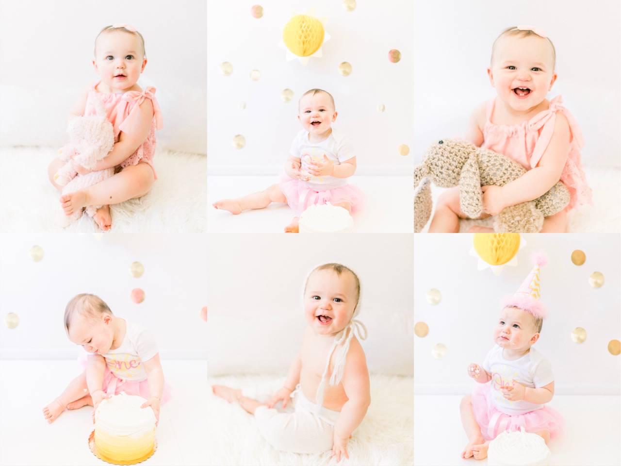 Paige | Giggly and Curious 12 Month Baby Milestone Photography Session with Cake Smash | Noblesville, IN Newborn Photographer