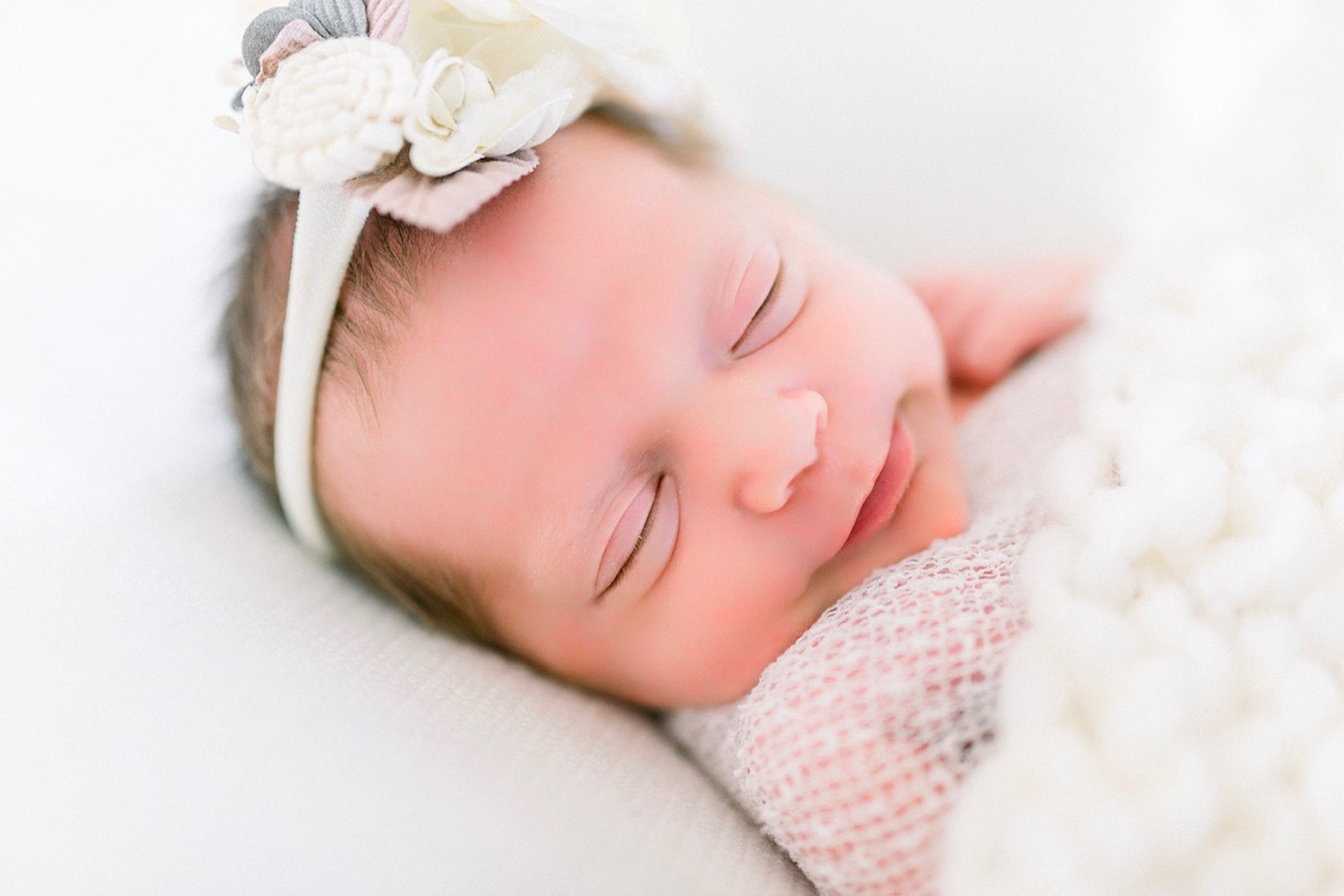 Victoria | Happy Little Newborn Dressed Up in Neutrals | Natural Light Newborn Photography Studio in Noblesville Indiana