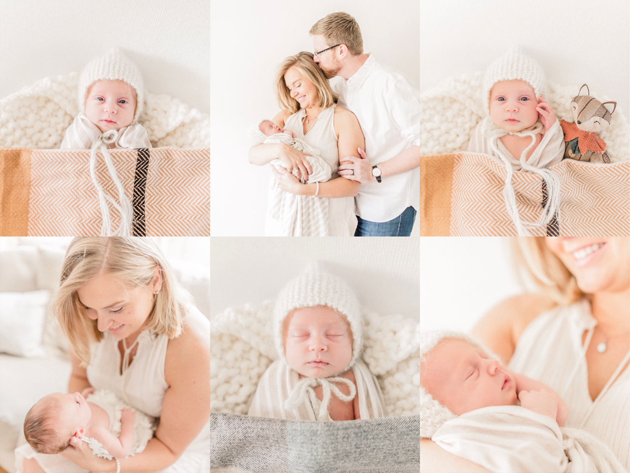 Emilia | Creamy and Cozy Fall Themed Newborn Photography Session | Natural Light Photographer in Noblesville, IN