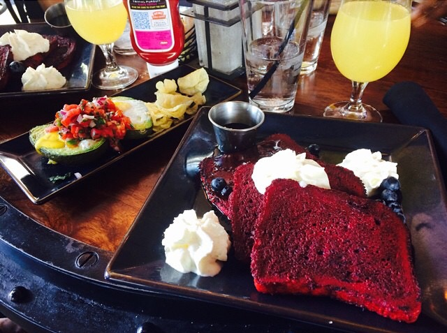 Eggvocado (pictured left) & Red Velvet French Toast (pictured center)
