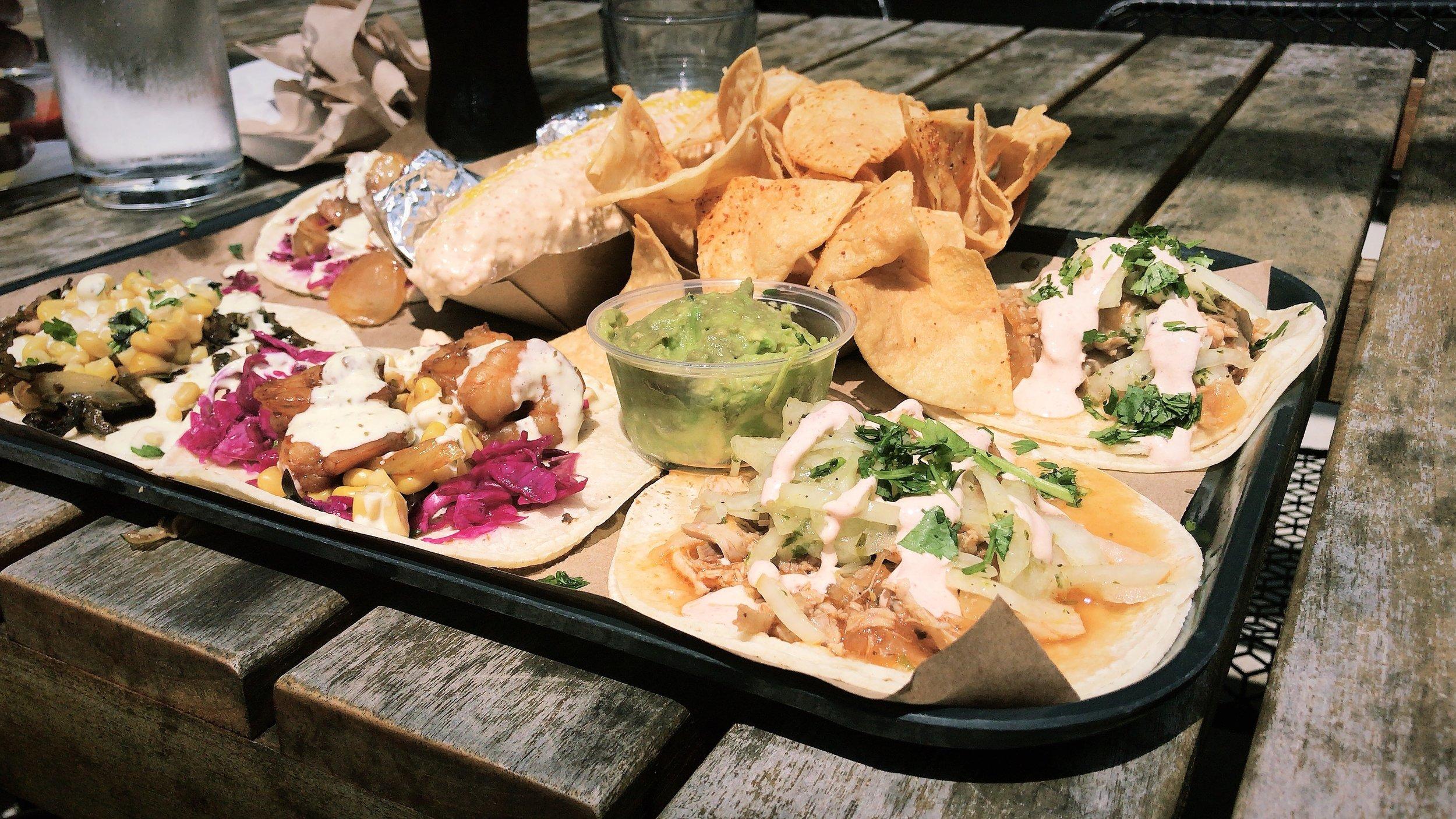 Amano Taco - Guac + Chips, & Shrimp + Chicken tacos