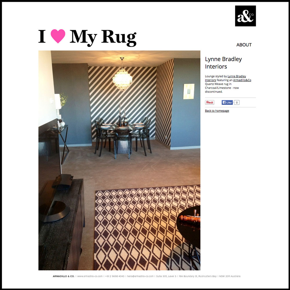 I Love My Rug   Lounge styled by Lynne Bradley Interiors featuring an Armadillo&Co Quartz Weave rug in Charcoal/Limestone - now discontinued.