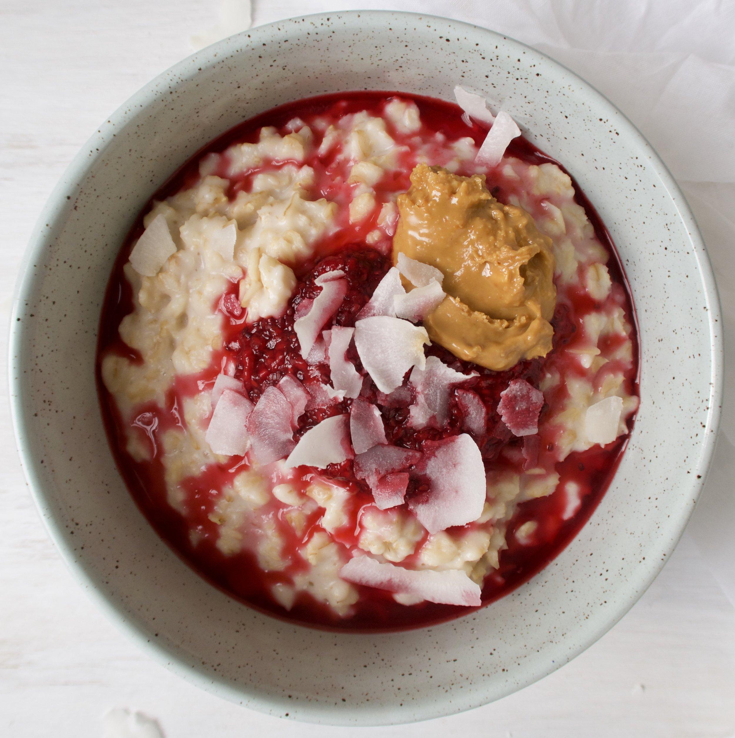 Raspberry and Peanut Butter Porridge