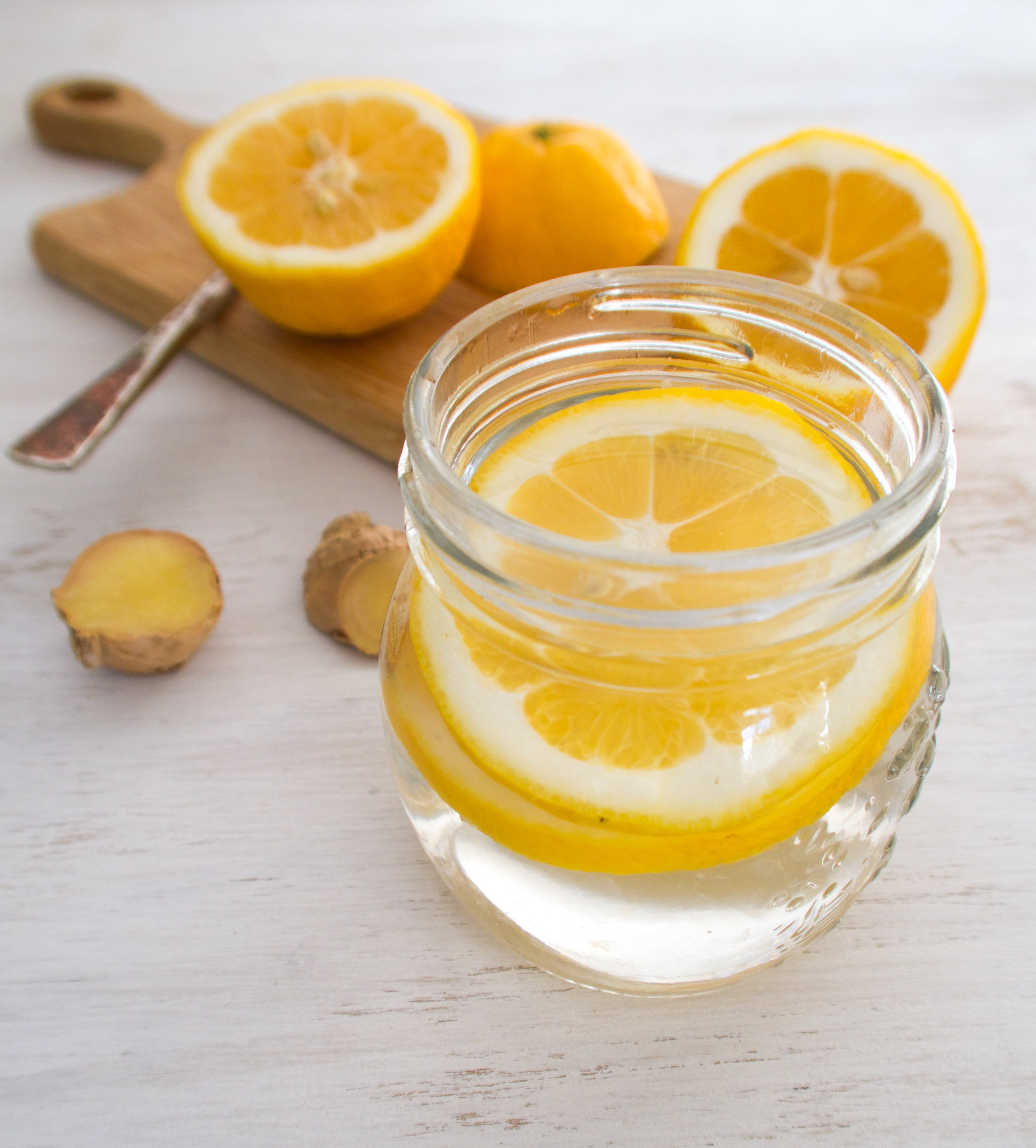 Hot water with lemon and ginger