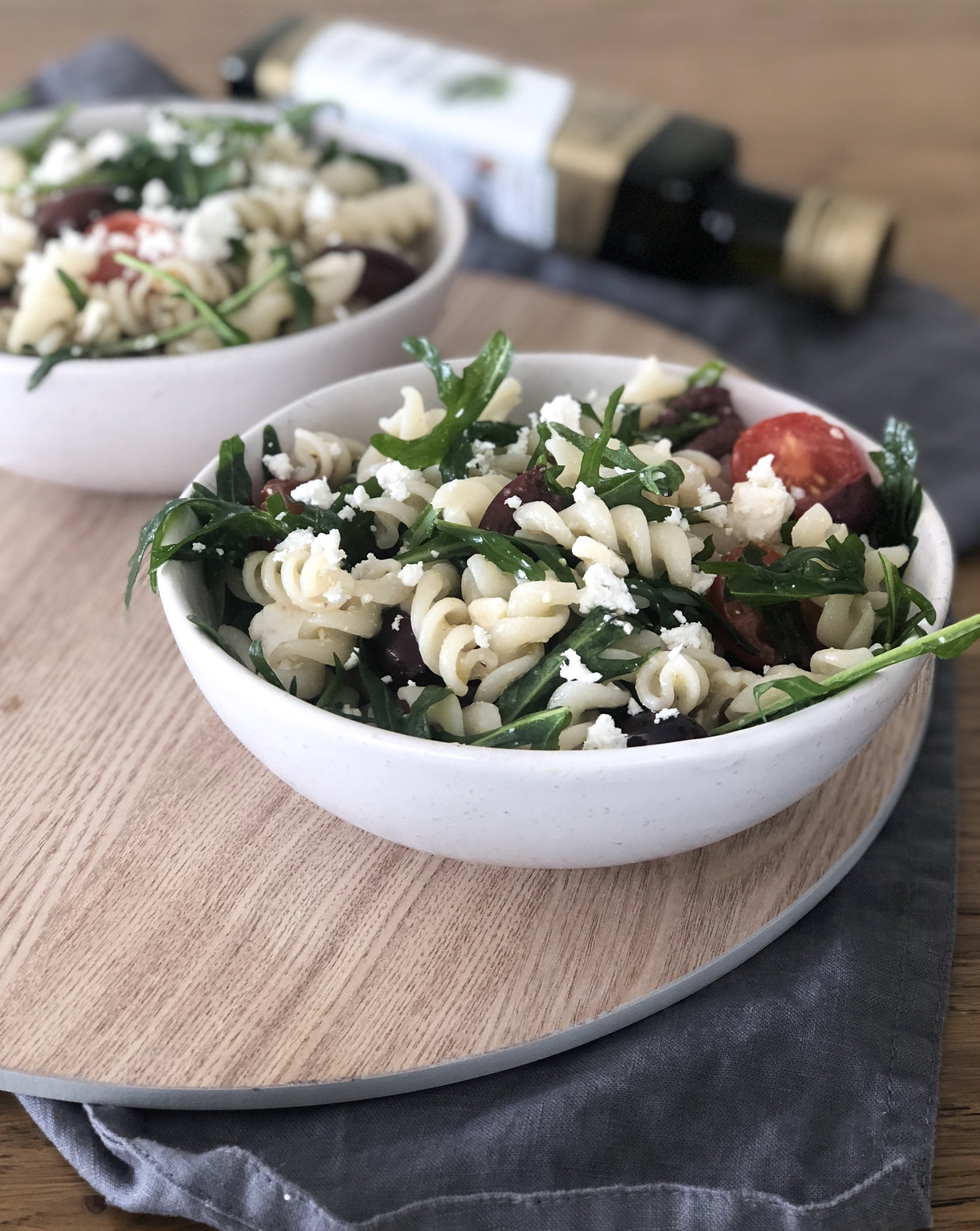 Low FODMAP gluten free pasta salad with olives and tomatoes