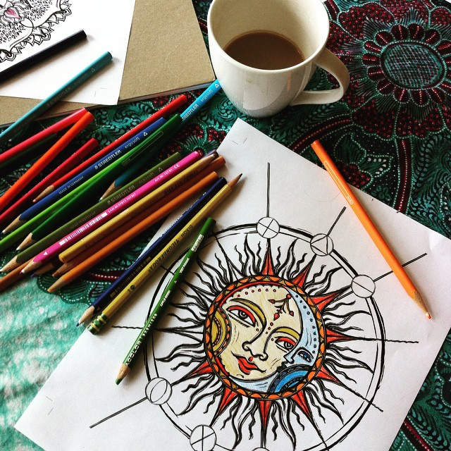 Coloring page from Sacred Symbols - Coloring Experiences for the Mystical and Magical.
