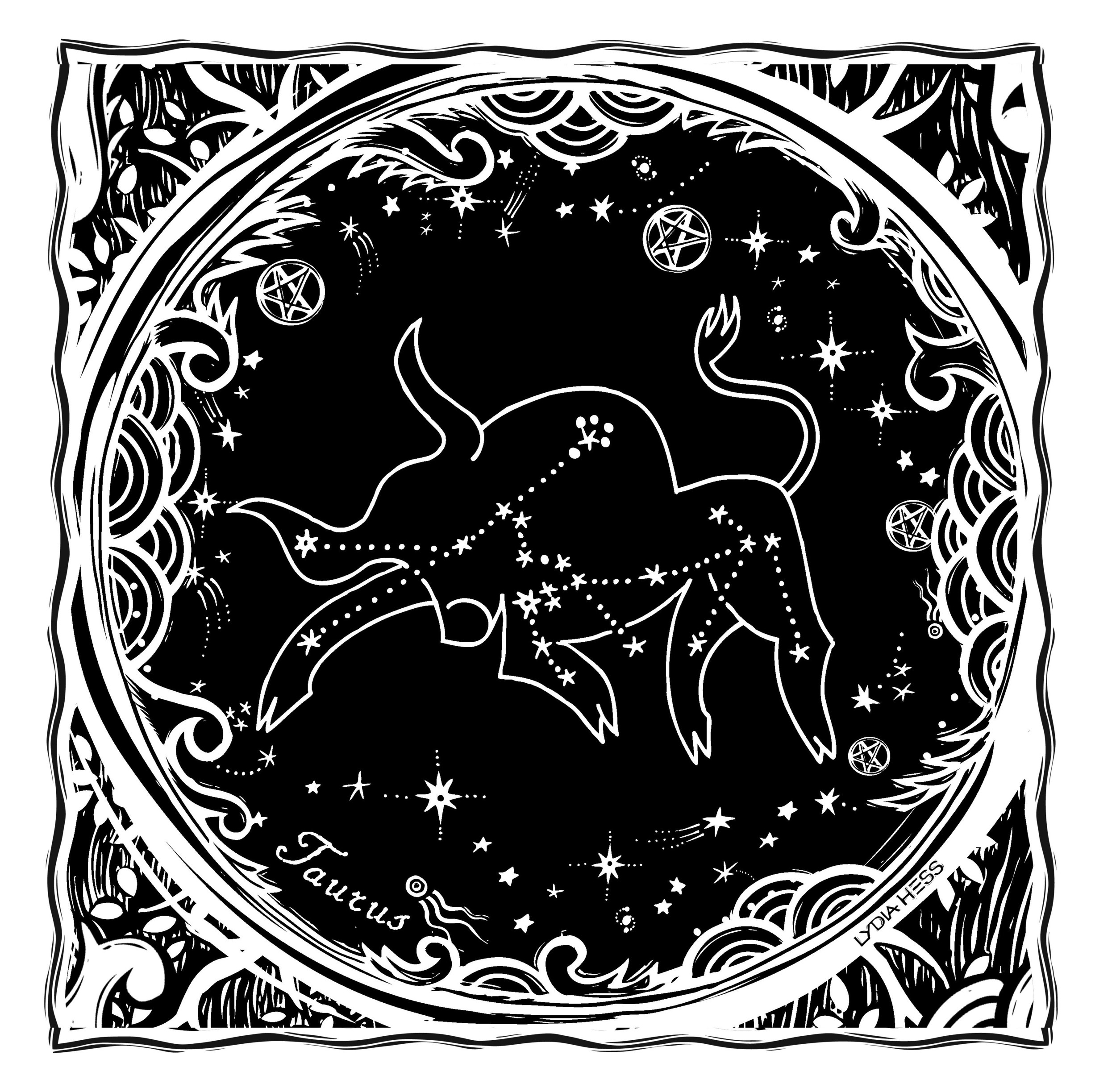 Taurus - from Sacred Heavens - Coloring books for the Soul