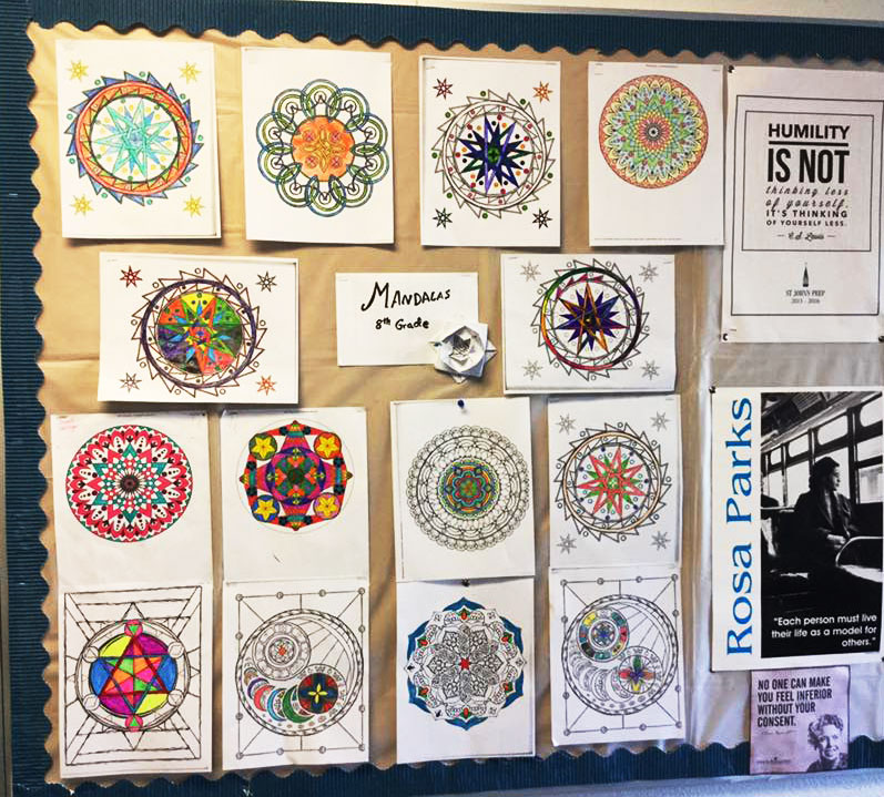St. John's Prep - 8th Grade class - the sacred art of Mandalas - from the Sacred Symbols Coloring books by Lydia Hess.