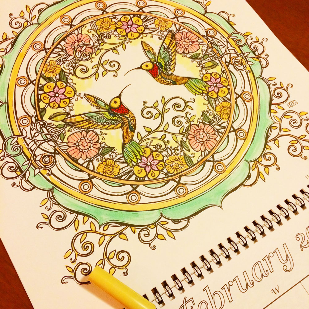 February from the 2018 Magical Garden Coloring Calendar.