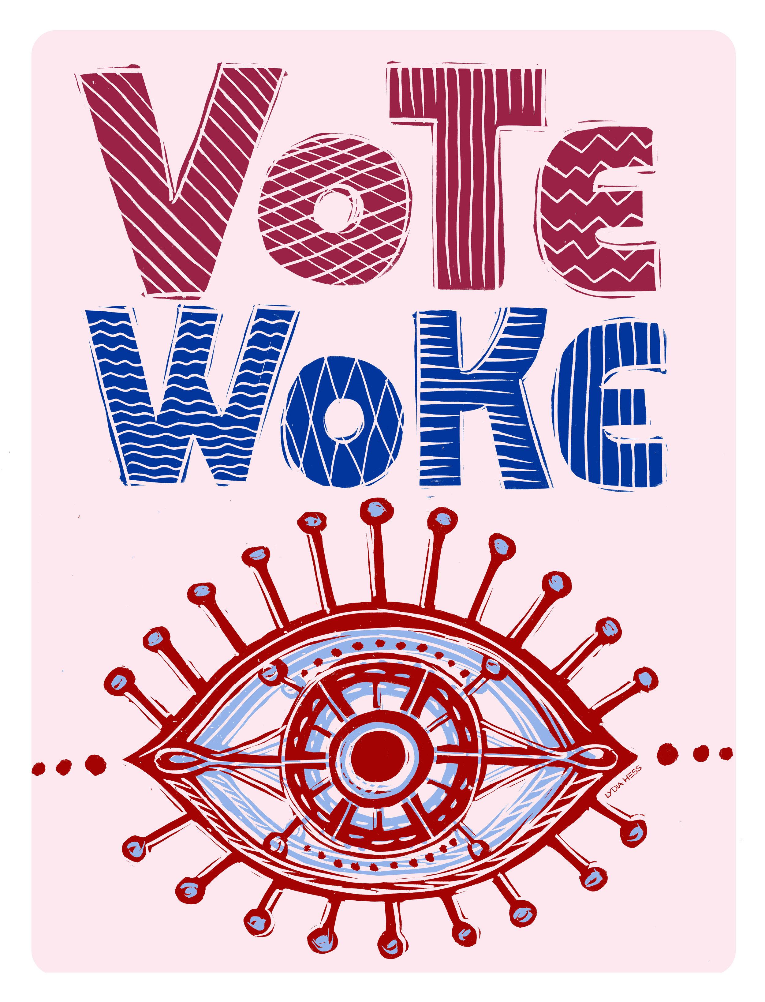 VoteWoke Poster - by Lydia Hess Illustration