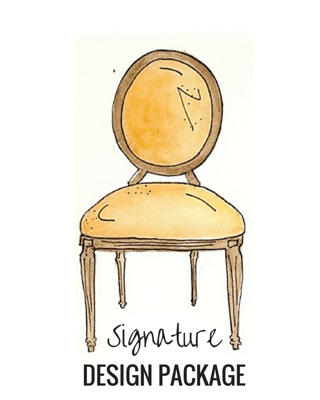 The signature Design Package is for the home owner who wants the signature design experience where not only do you have the custom design plan for your room, but options to choose from and a shopping trip with the designer.