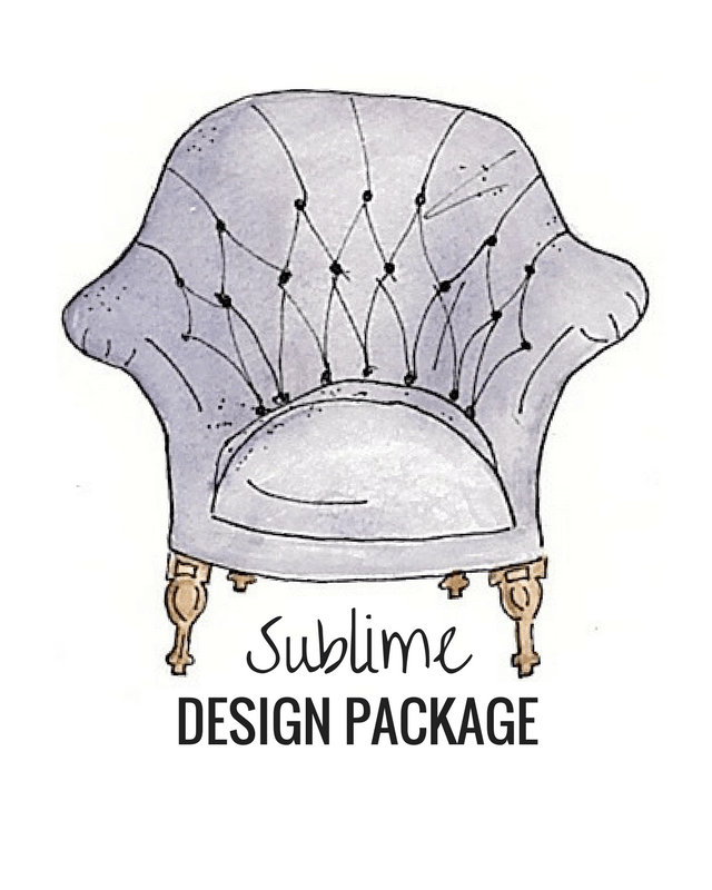 The Sublime Design Package is for the home owner who wants the Interior Designer to help through the entire process. You will have the custom design plan for your room, options to choose from, a shopping trip with me, and when it come time to put it all together I will come out and also bring any finishing touches for the room.