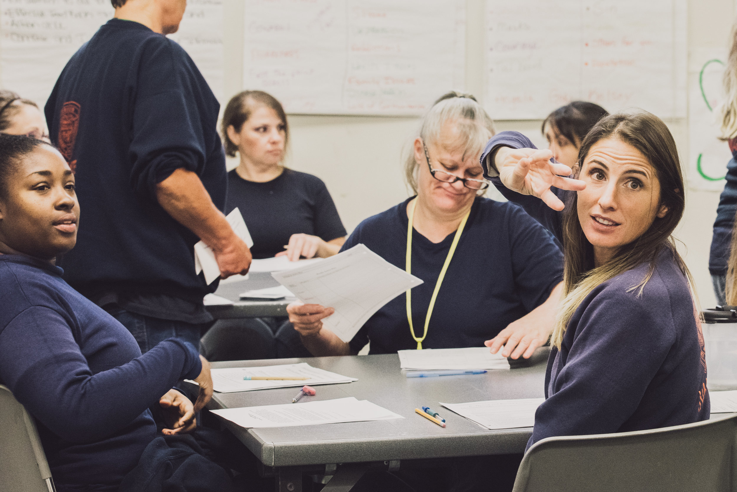 LIFE class at Coffee Creek Correctional Facility, teaching entrepreneurship and business skills to incarcerated women. Offered through Mercy Corps Northwest.