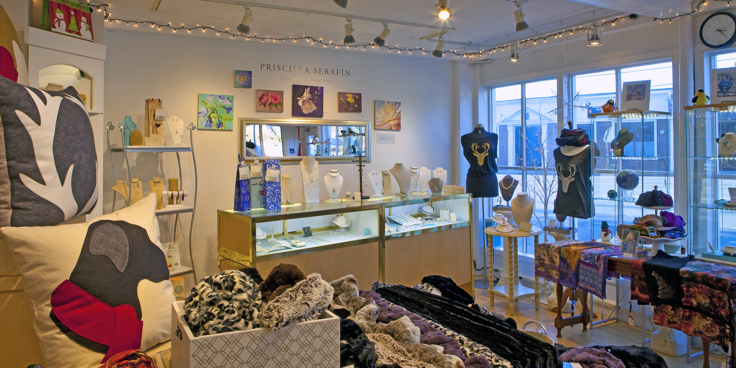 Interior of Betsy Frost Design Studio & Gallery at 4 Market Street in downtown Ipswich, Mass.