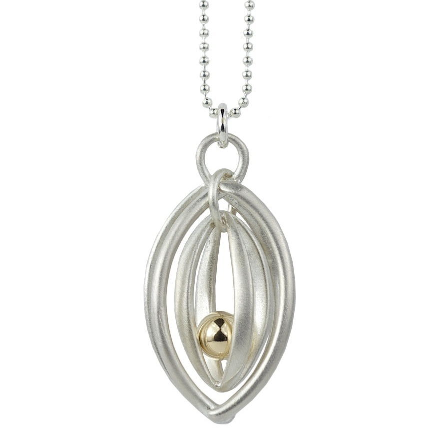 DOUBLE CAGE PENDANT WITH GOLD FILLED BALL
