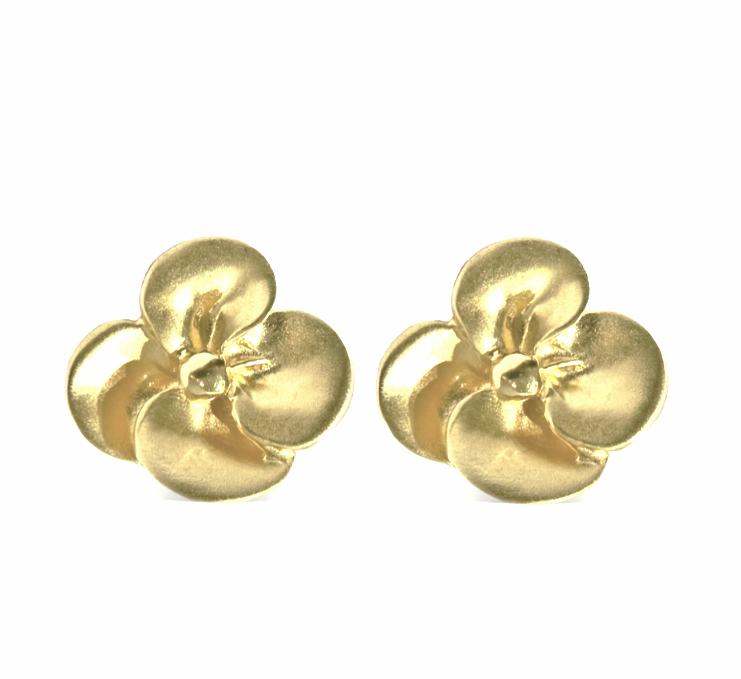 SMALL PANSY POST EARRINGS