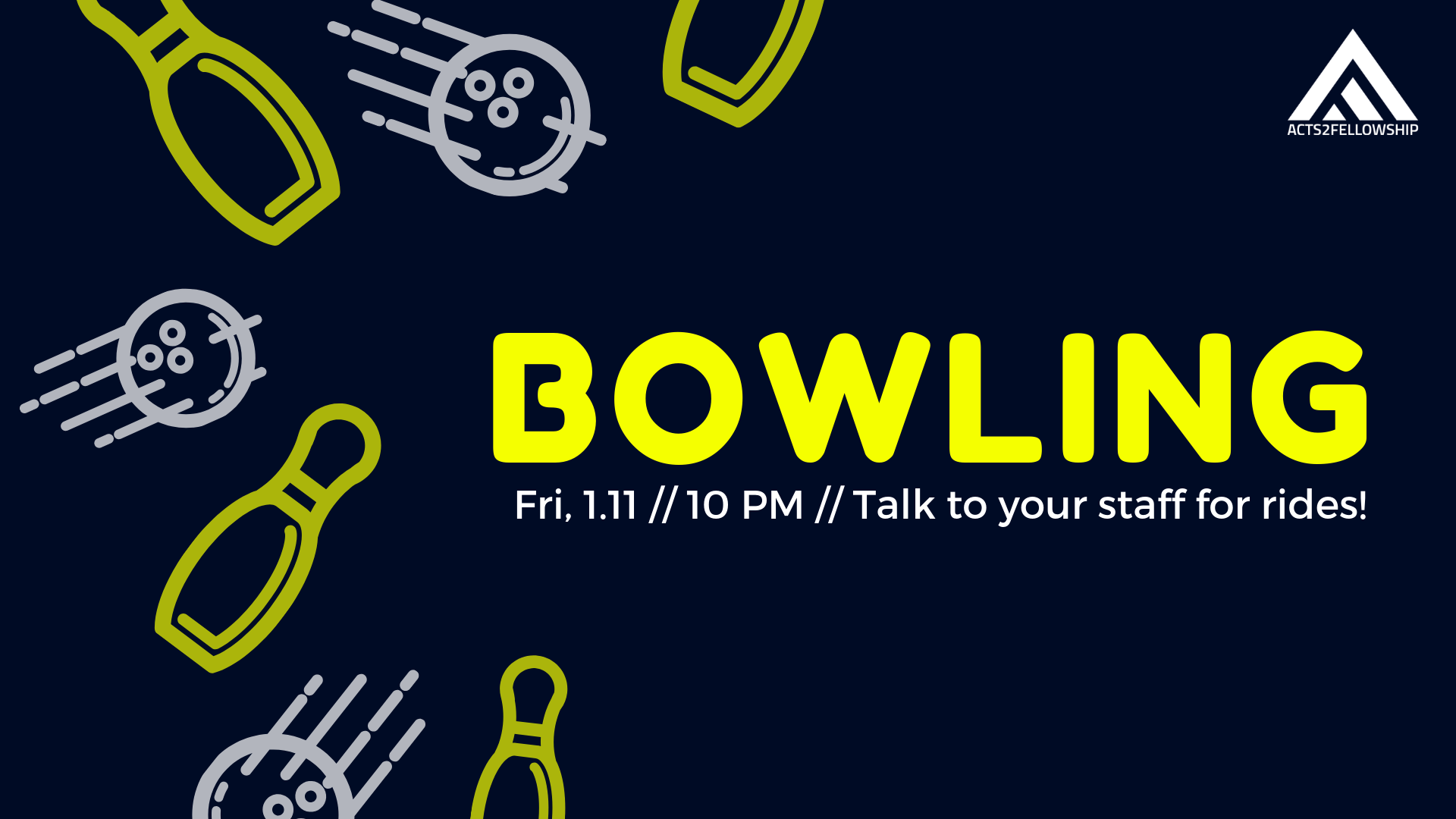 Afterwards we will be going Bowling together! Get your game on and see you at the alley!
