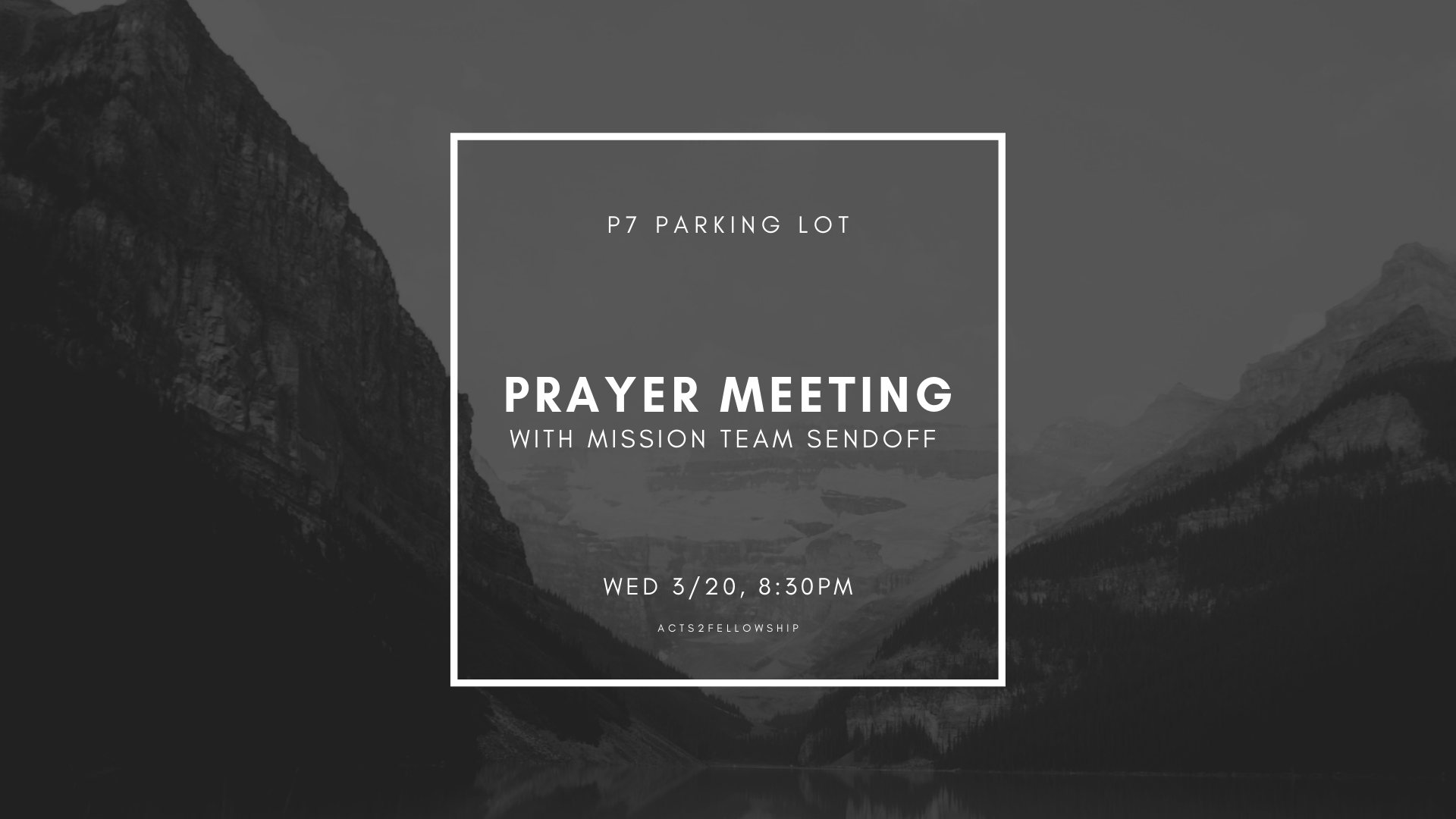 We'll be having final prayer meetings this quarter on Wednesday! Come and join us for a time of connecting with God and spiritual recharging. We will be meeting at  Parking Lot 7 - Bottom Floor  starting at  7:30PM .