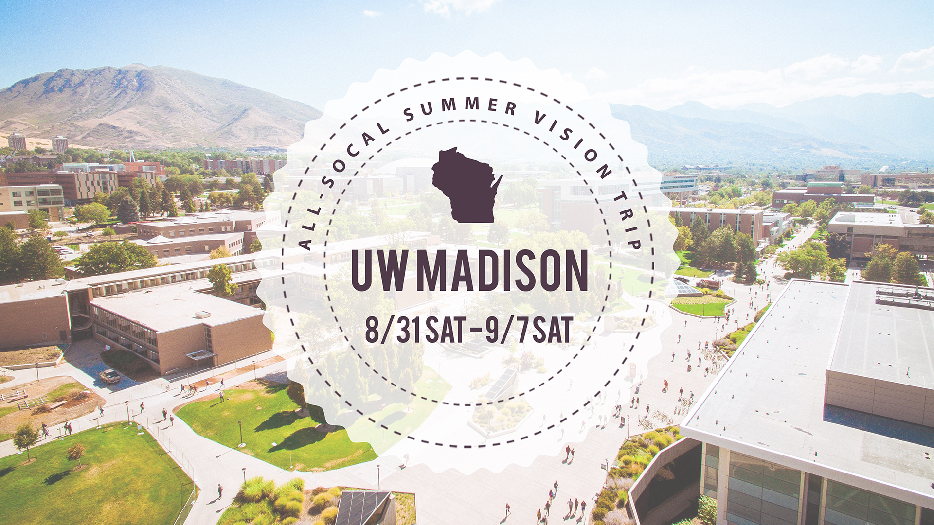 Are you interested in going on a vision trip to the University of Wisconsin - Madison during their welcome week to do some outreach? Let's see what the response on the campus is like! Sign up   HERE  .   Trip dates: Sat 8/31 - Sat 9/7 Freshman move-in day: Sat 8/31 First day of class: Wed 9/4