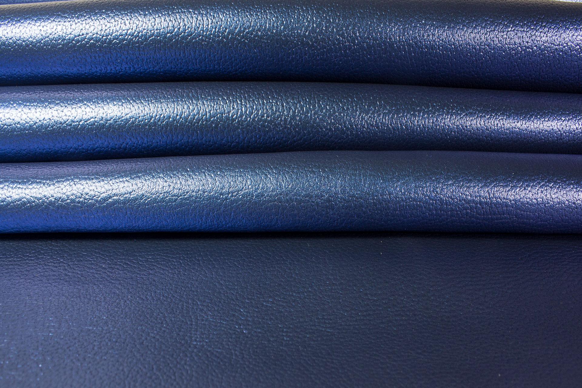 Blue Metallic Leather