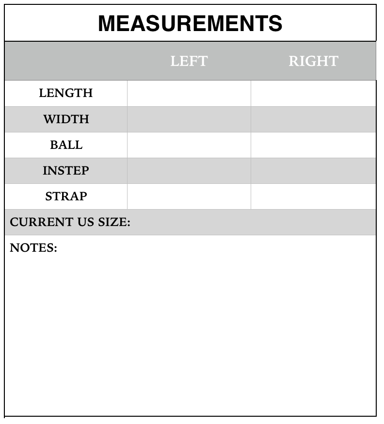 Table 1. Measurements form