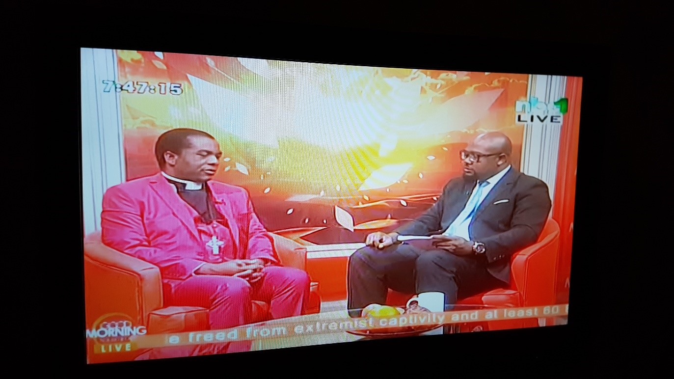 Rev. Katenda fielding questions with regards to the NEAC on NBC Good Morning Live show.