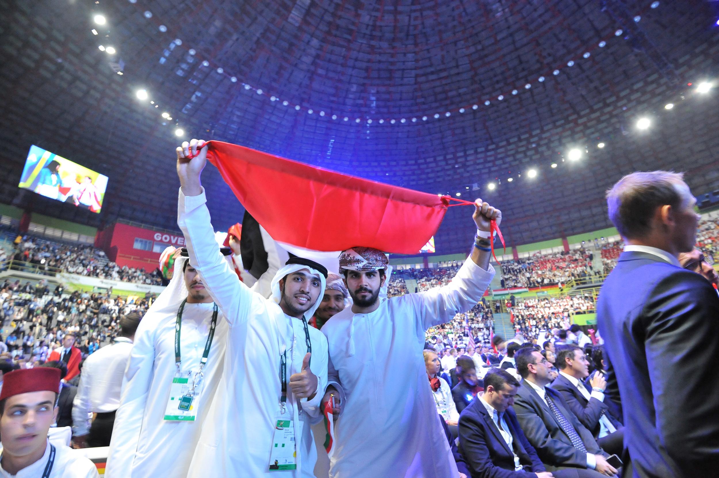 Emirati and Omani competitors at WorldSkills São Paulo closing ceremony (Photo credit: WorldSkills International)