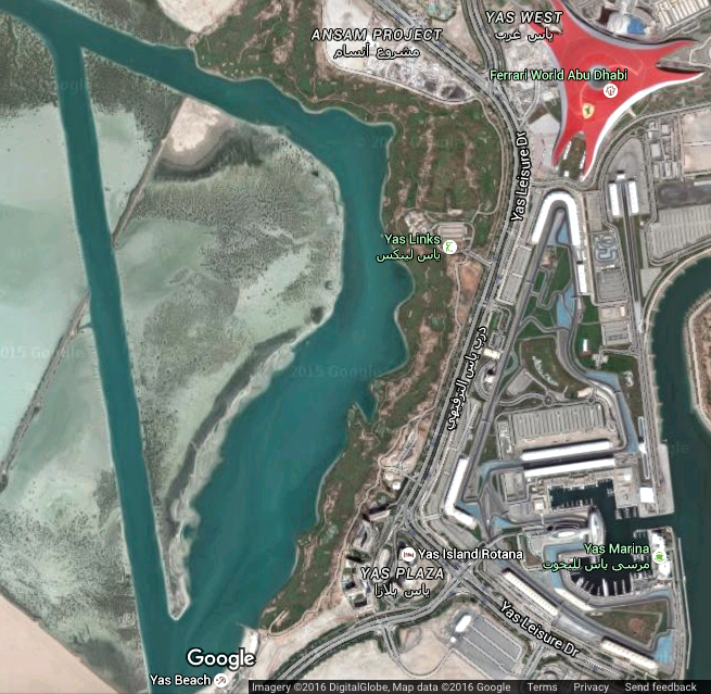 'Noukhada' Island, off Yas Island, Abu Dhabi (Photo: Google Maps)