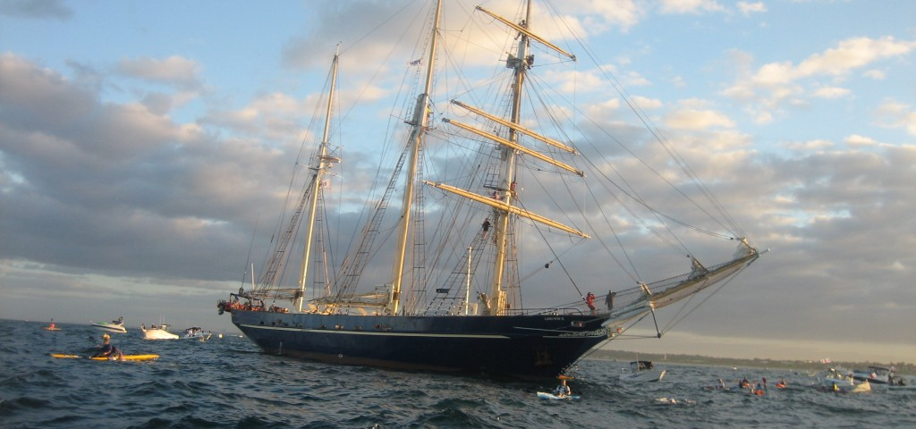 The Leeuwin icon vessel - 1.5KM into the Rottnest Channel swim (Photo:  Karma Resorts Rottnest Channel Swim )