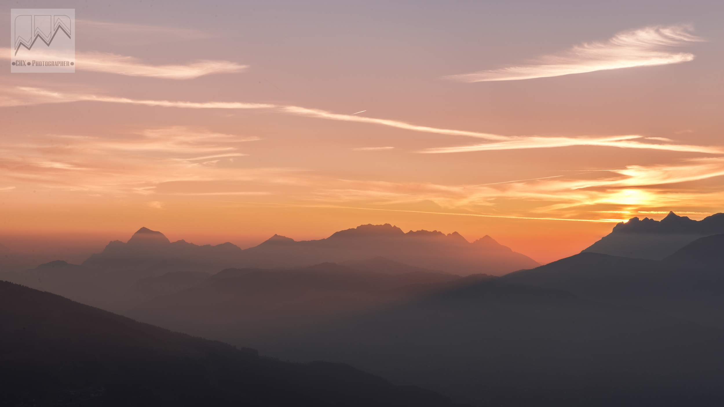 Sunset over the Arveyron mountain chain in the Haute Savoie, France