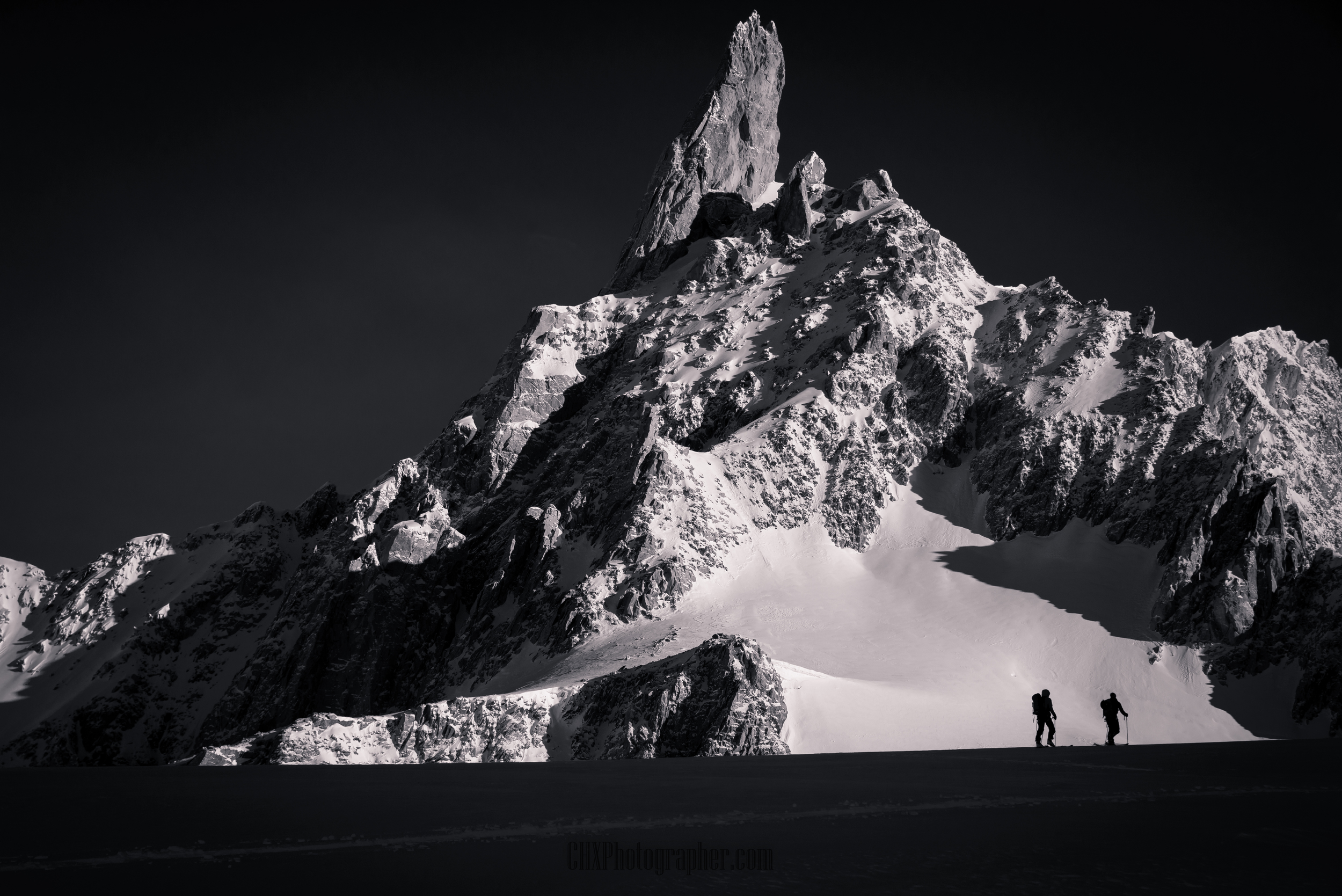 Ski touring in the Mont Blanc Massif above Courmayer, Italy