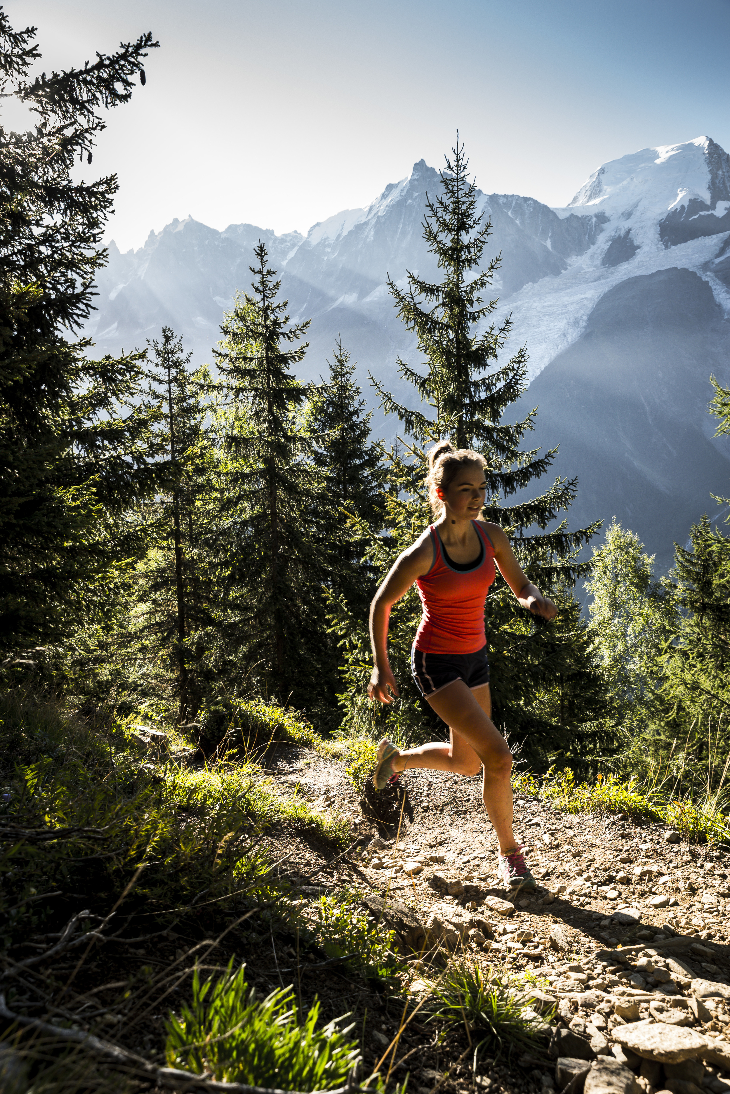 Trail running in the Chamonix valley, France