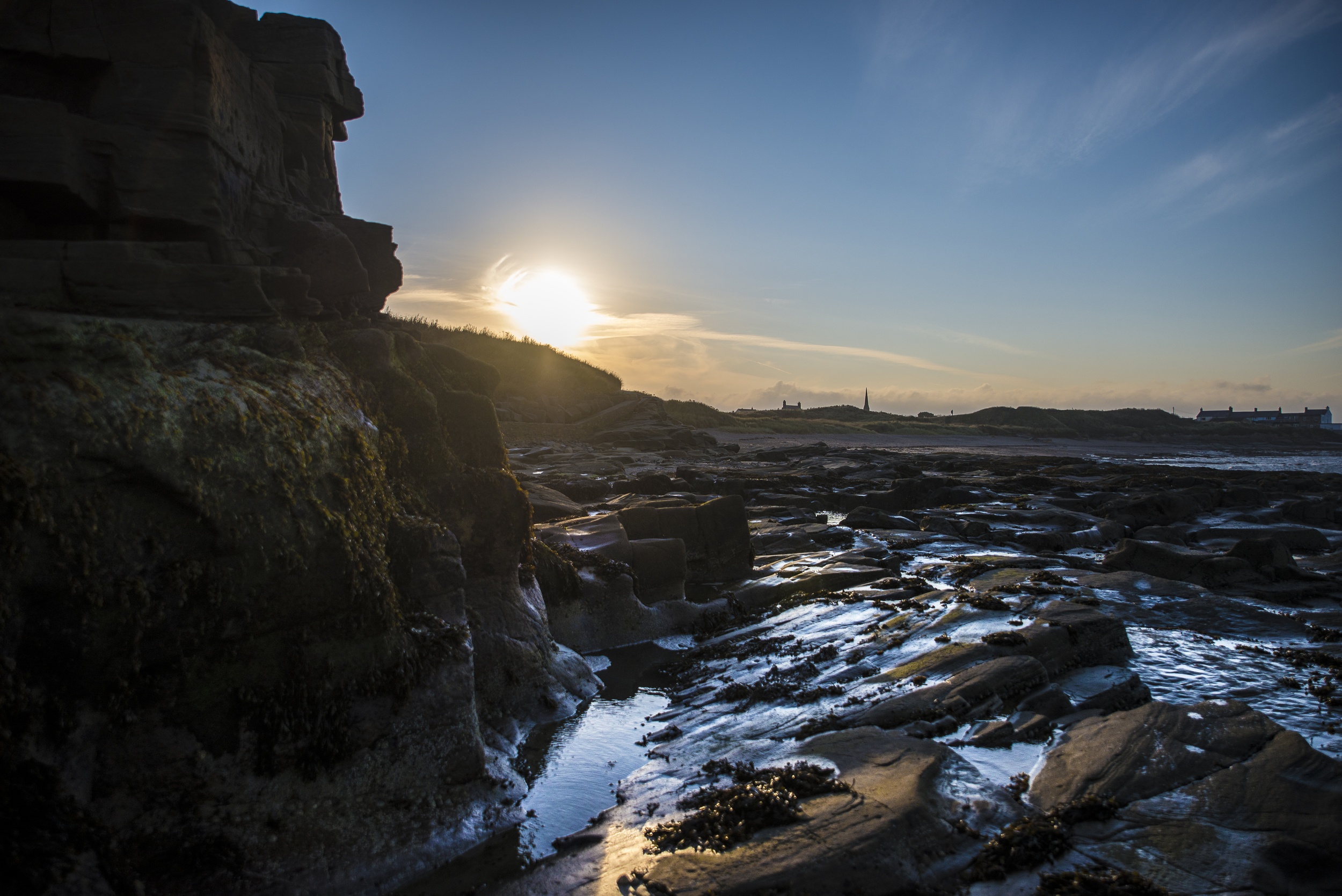 Sunset on the beach in Amble, Northumberland.