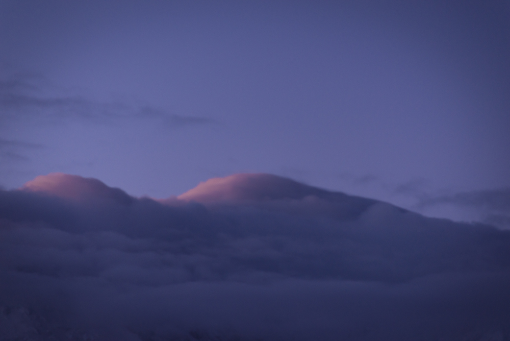 Morning light hitting the cloud that is covering the Mont Blanc and Mont Maudit.