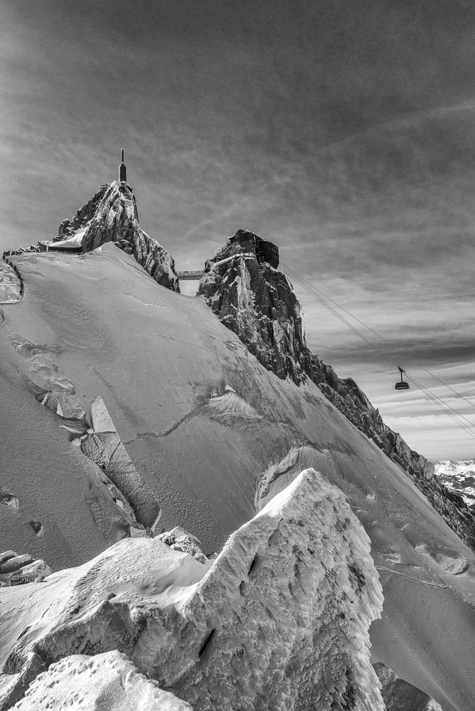 HDR Black and white image of the Aiguille du midi telecabine in Chamonix.