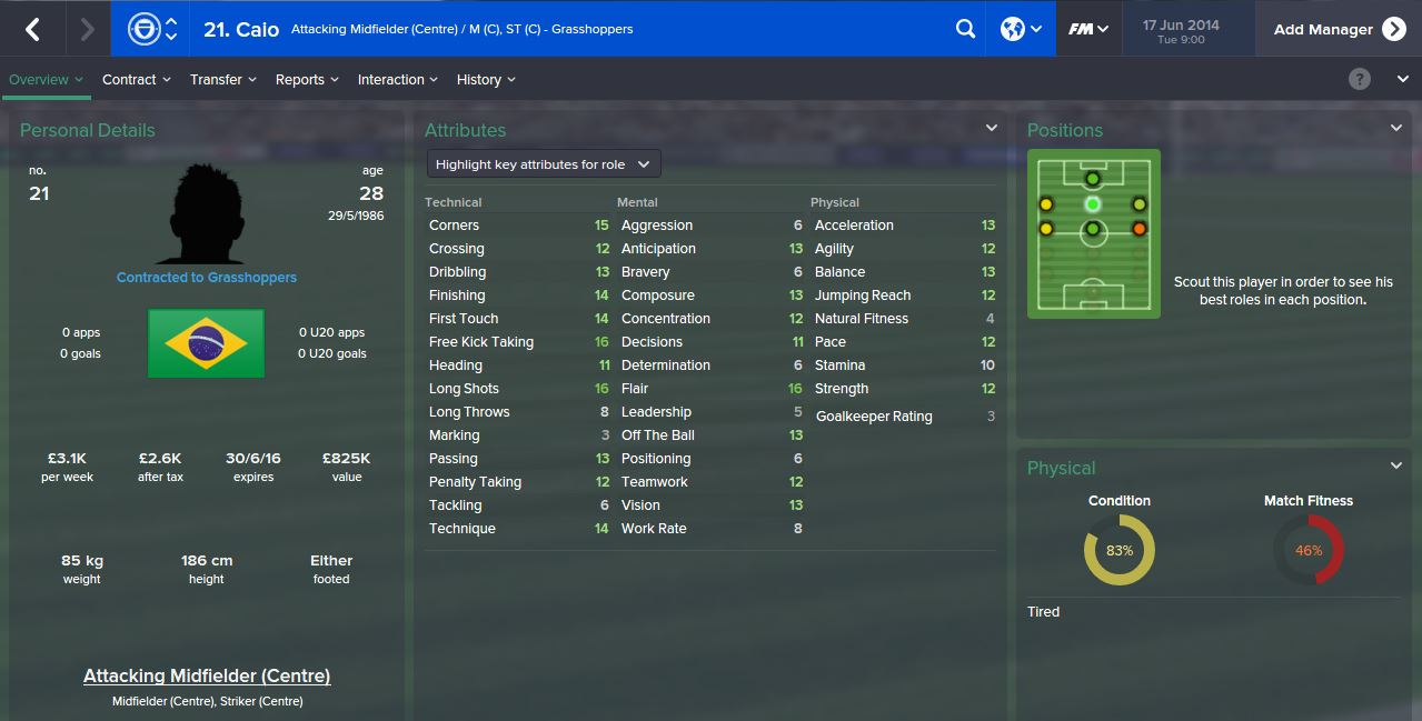 Caio from Day 1 (Football Manager 2015)