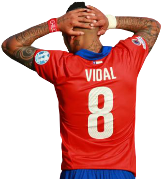 Vidal's pain is two-fold, as he lost a bet with Fabián Orellana to see who scored the most tournament goals (2-3 to Orellana).  The forfeit: a tattoo of Ángel Bastardo!