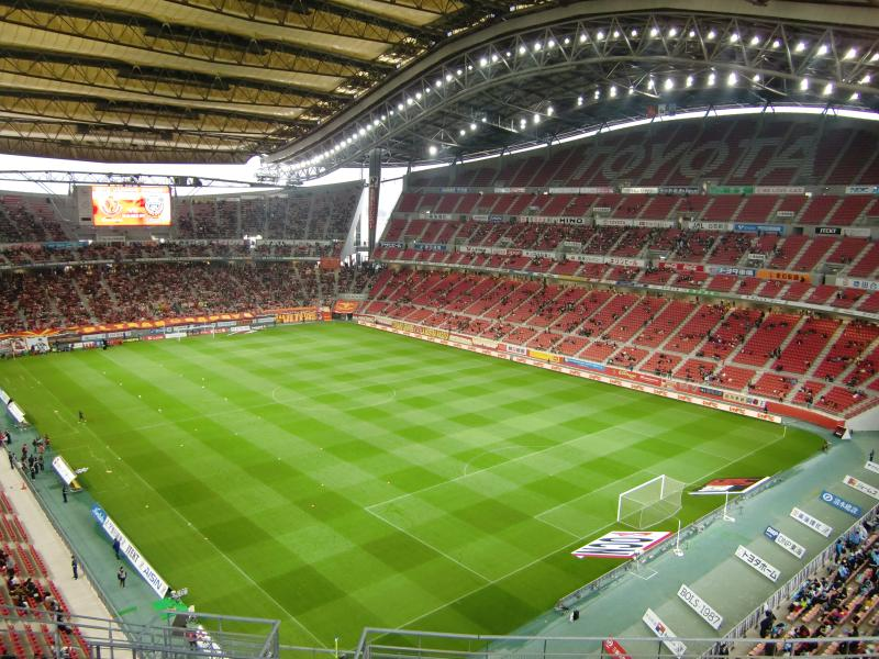 There's over twenty football stadiums exceeding 30,000 capacity in Japan, my favourite is the 45,000 capacity  Toyota Stadium , home to  Nagoya Grampus . Look at that main stand!